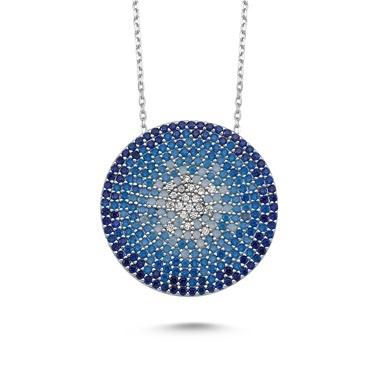 Online Takı Mavi Taşlı Dünya Gümüş Kolye Renkli